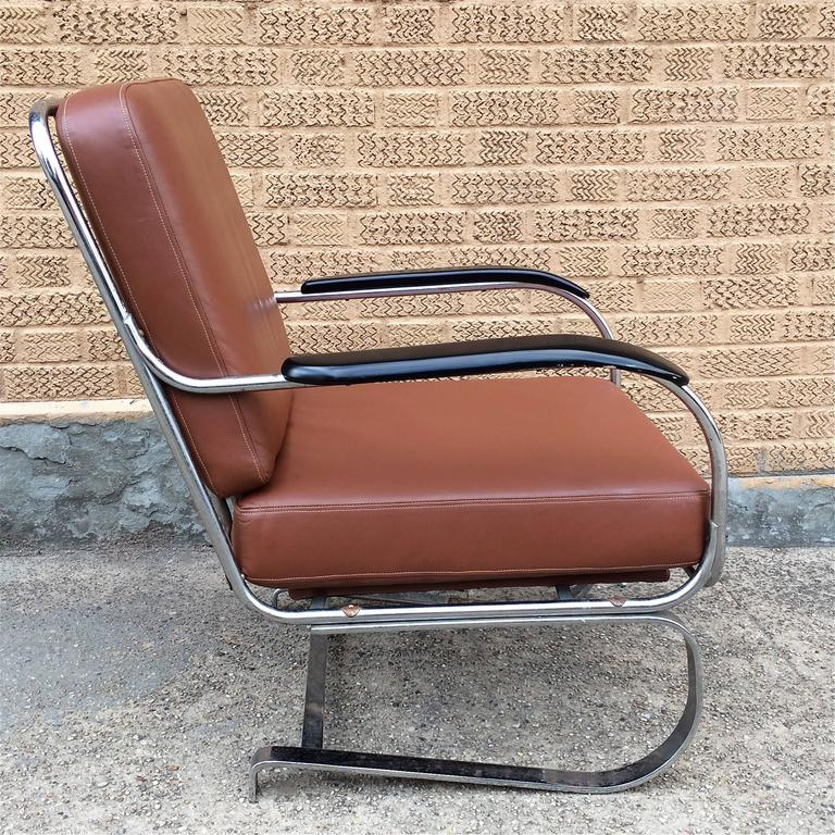 Machine Age KEM Weber for Lloyd Chrome and Leather Lounge Chair 6