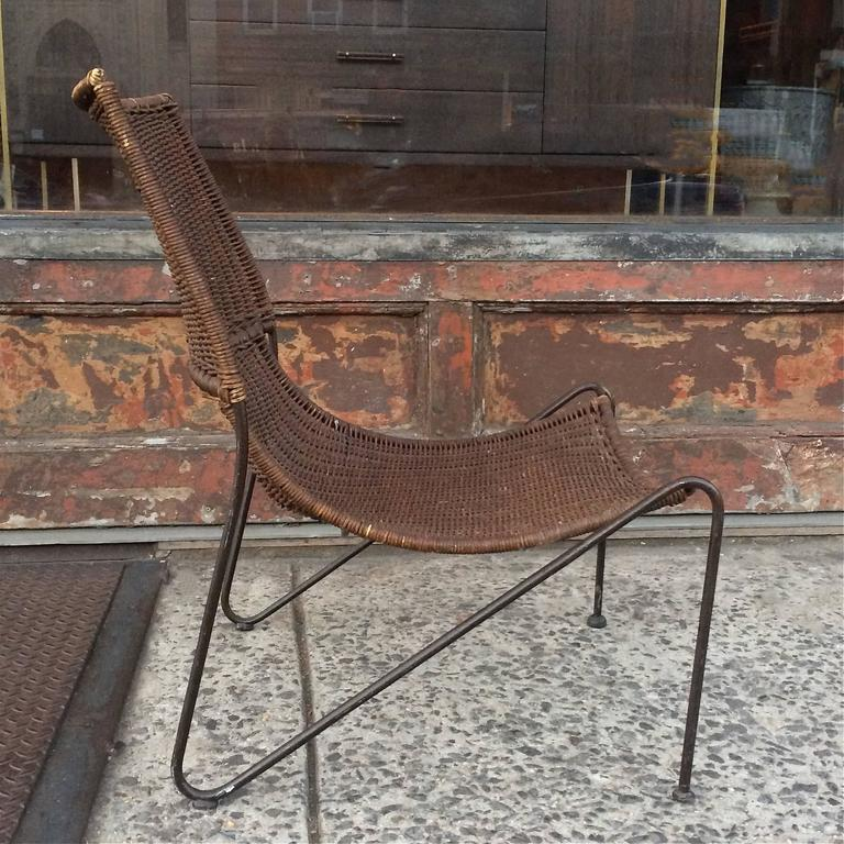 woven metal furniture. Mid-Century Modern Woven Rattan And Wrought Iron Slipper Lounge Chair For Sale Metal Furniture