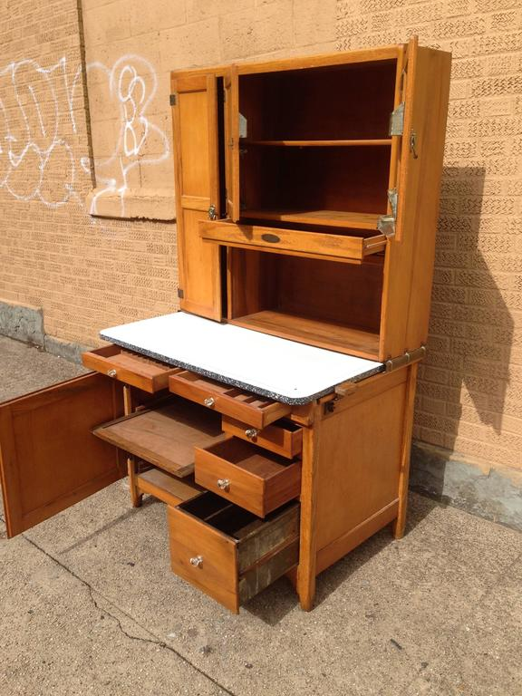 Classic Early 20th Century Maple Hoosier Cabinet At 1stdibs