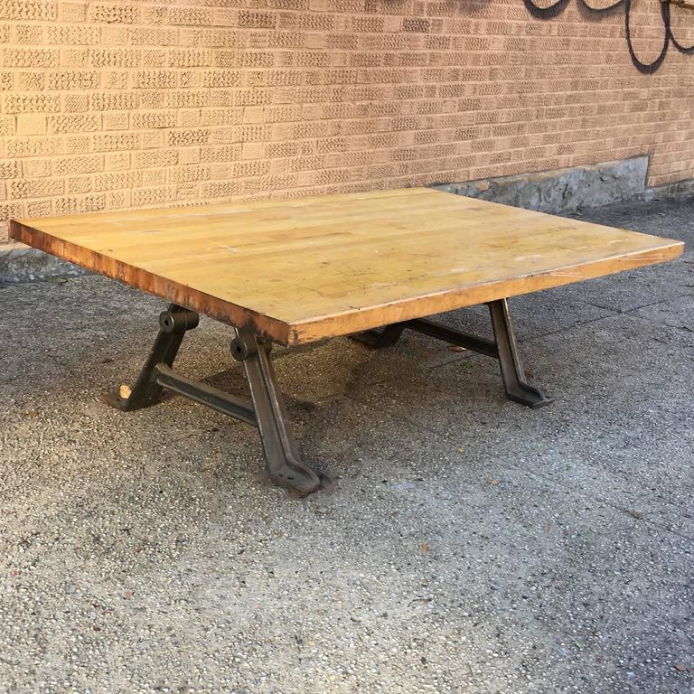 Industrial Reclaimed Butcher Block Coffee Table For Sale at 1stdibs