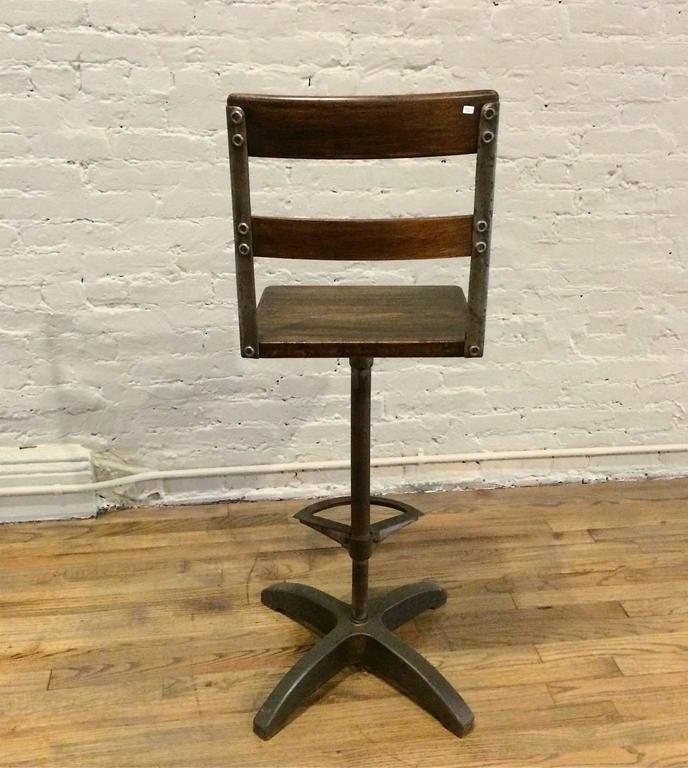 Mid-20th Century Custom Industrial Maple and Brushed Steel Drafting Stool For Sale