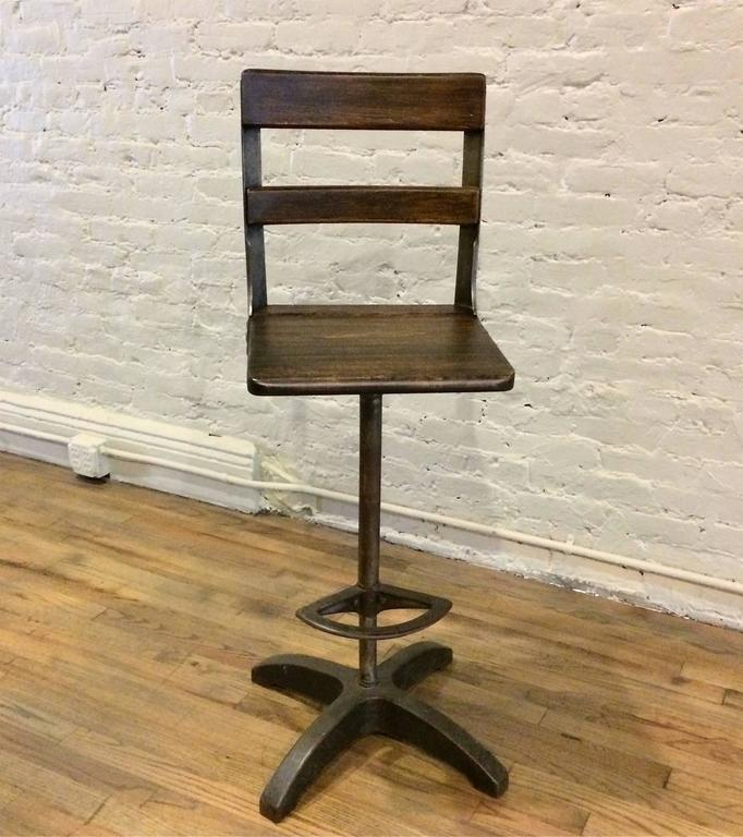 American Custom Industrial Maple and Brushed Steel Drafting Stool For Sale