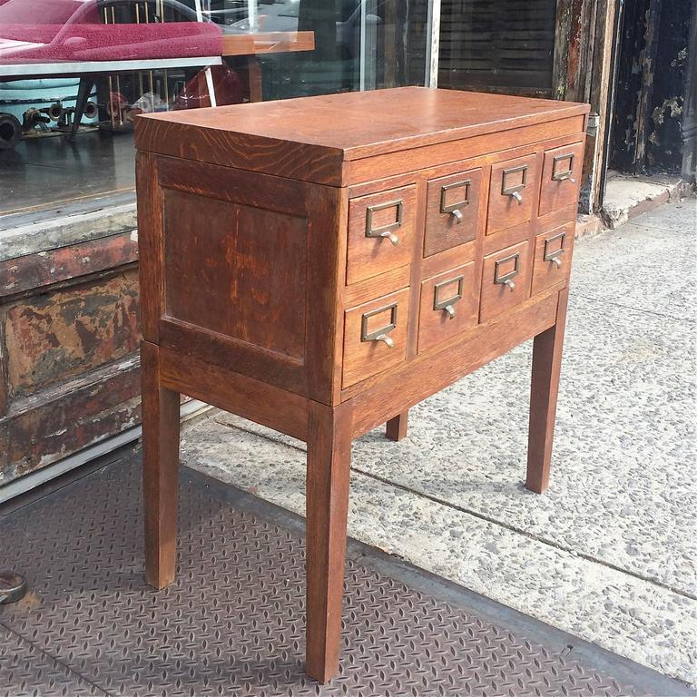 Industrial Oak Library Card Catalog File Cabinet For Sale