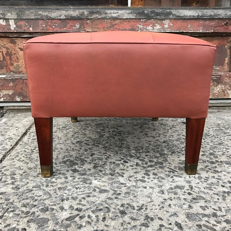 Ottomans Ornate Mahogany Ottoman: Mid-Century Leather And Mahogany Ottoman For Sale At 1stdibs