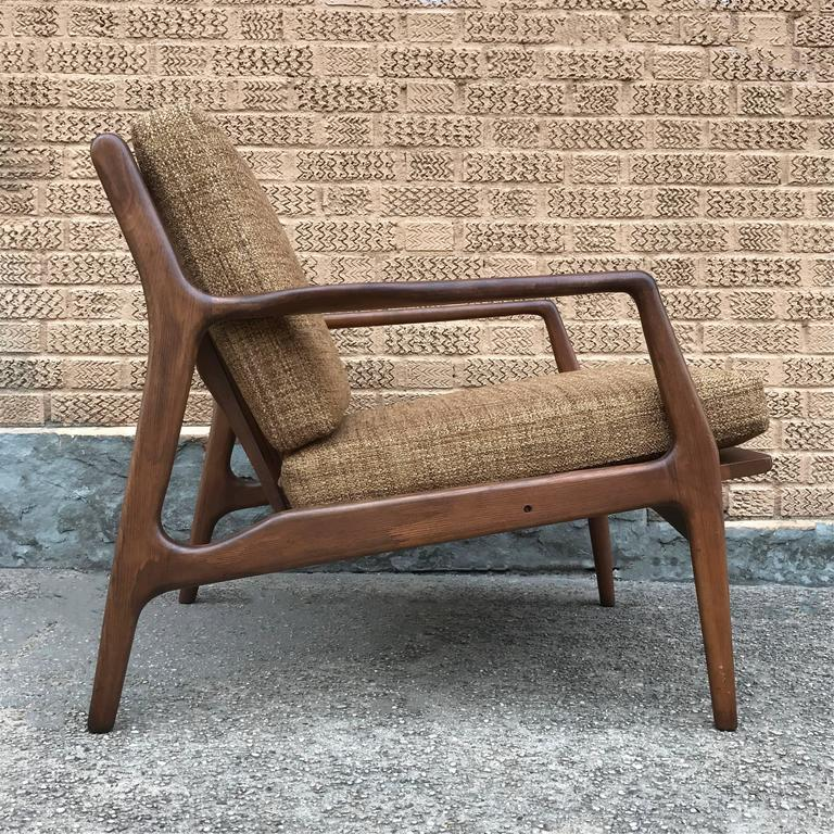 Great Scandinavian Modern Mid Century Modern Walnut Lounge Chair By Ib  Kofod Larsen For Sale