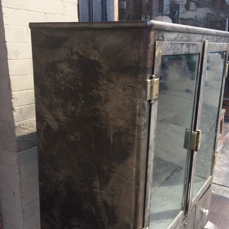 Industrial Brushed Steel Apothecary Medicine Cabinet 1