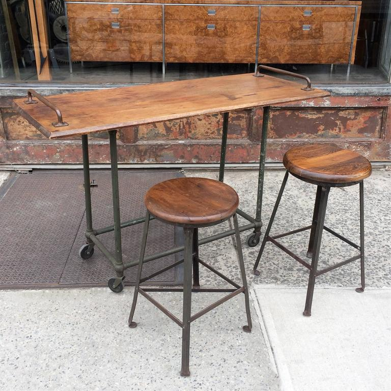Flip And Fold Rolling Table Stainless Steel Wood: Custom Oak And Steel Industrial Rolling Console Work Table