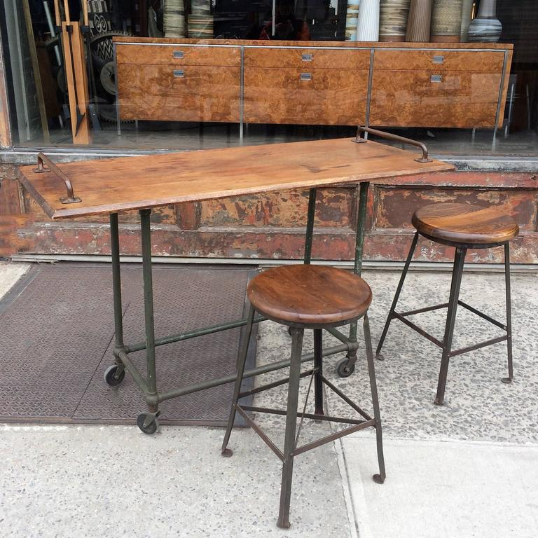American Custom Oak And Steel Industrial Rolling Console Work Table For Sale