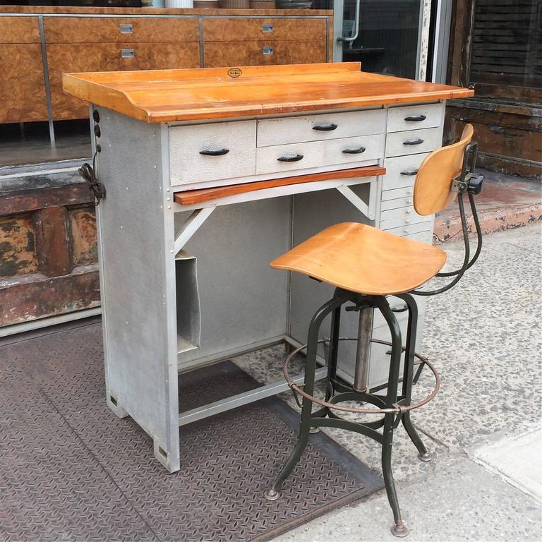 American Stamped Aluminum And Maple Watchmaker S Desk For