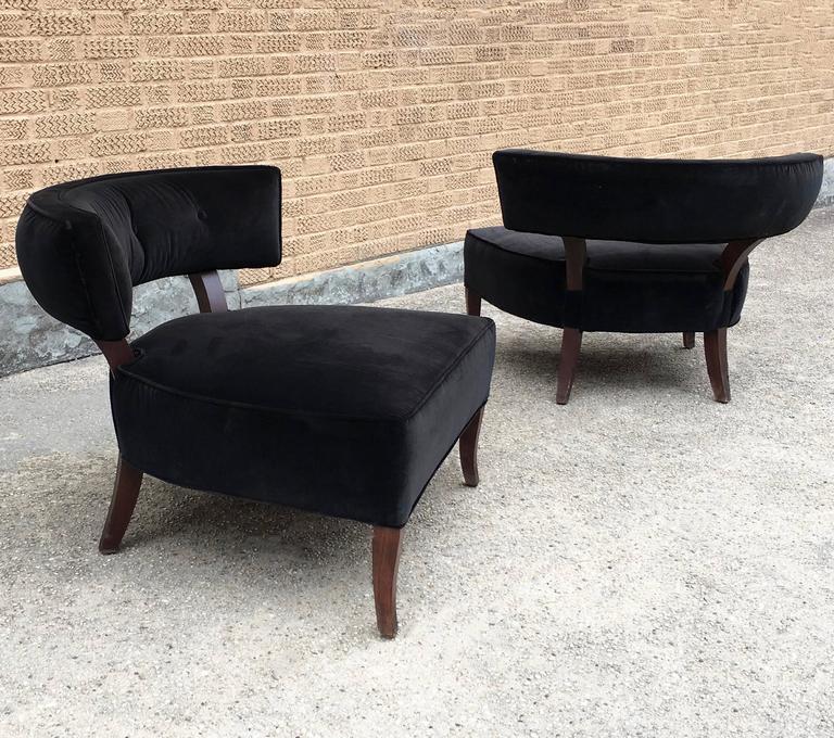 Pair of Hollywood Regency slipper hostess chairs upholstered in black velvet with maple frames & Pair of William Haines Style Hollywood Regency Velvet Slipper ...