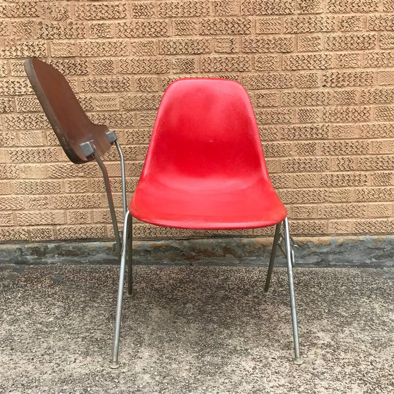 Herman Miller Eames DSS Fiberglass Side Chairs with Desk Attachments 6