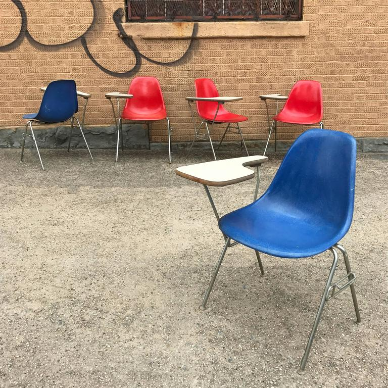 Herman Miller Eames DSS Fiberglass Side Chairs with Desk Attachments 4