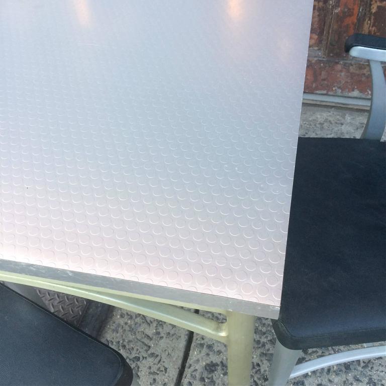Aluminum Mid-Century Brushed Aluminium Dining Set by GoodForm For Sale
