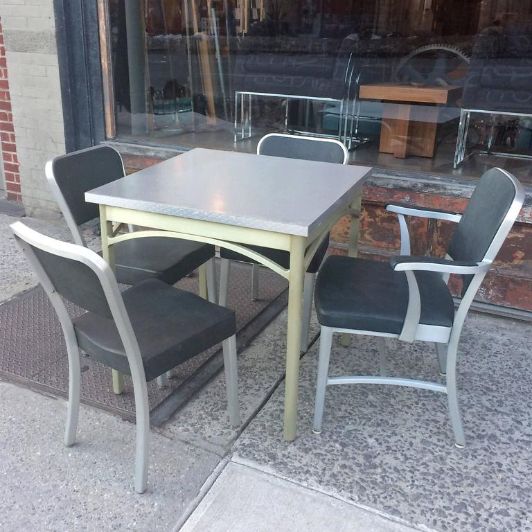 Mid-Century Modern Mid-Century Brushed Aluminium Dining Set by GoodForm For Sale