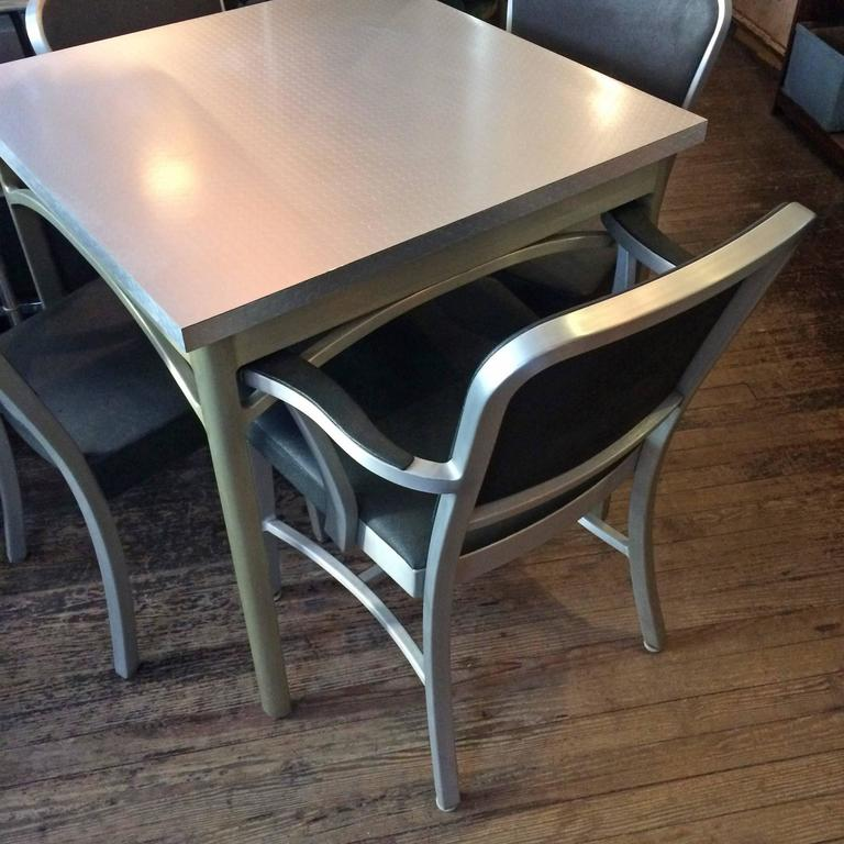 Mid-Century Brushed Aluminium Dining Set by GoodForm In Good Condition For Sale In Brooklyn, NY