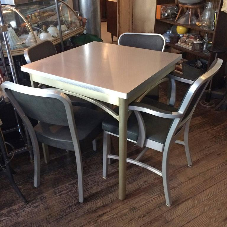 American Mid-Century Brushed Aluminium Dining Set by GoodForm For Sale