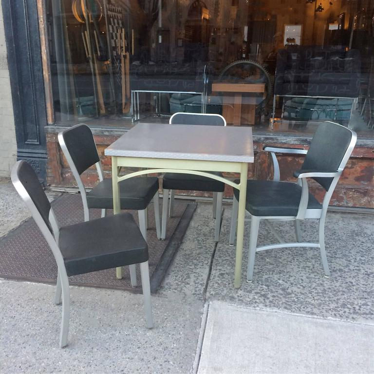 20th Century Mid-Century Brushed Aluminium Dining Set by GoodForm For Sale