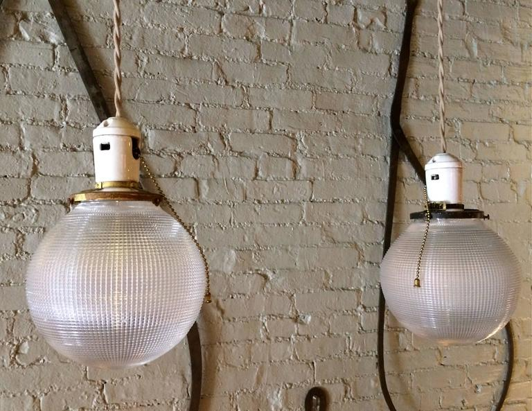 Pair of industrial holophane glass globe pendant lights for sale at american pair of industrial holophane glass globe pendant lights for sale aloadofball Choice Image