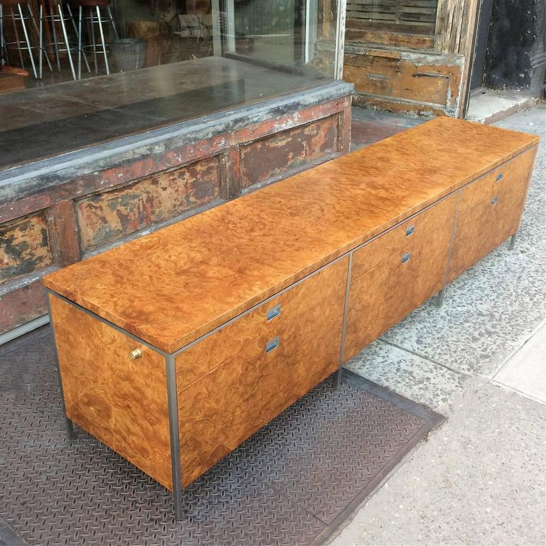 American Rare Gordon Bunshaft SOM Architect Floating Burl Olive Wood Credenza For Sale
