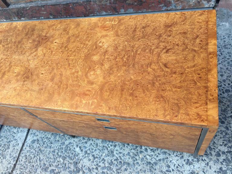 Rare Gordon Bunshaft SOM Architect Floating Burl Olive Wood Credenza For Sale 1