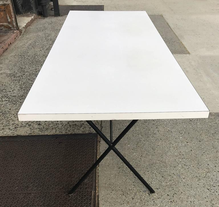 George Nelson for Herman Miller White Laminate X Legs Dining Table In Good Condition For Sale In Brooklyn, NY