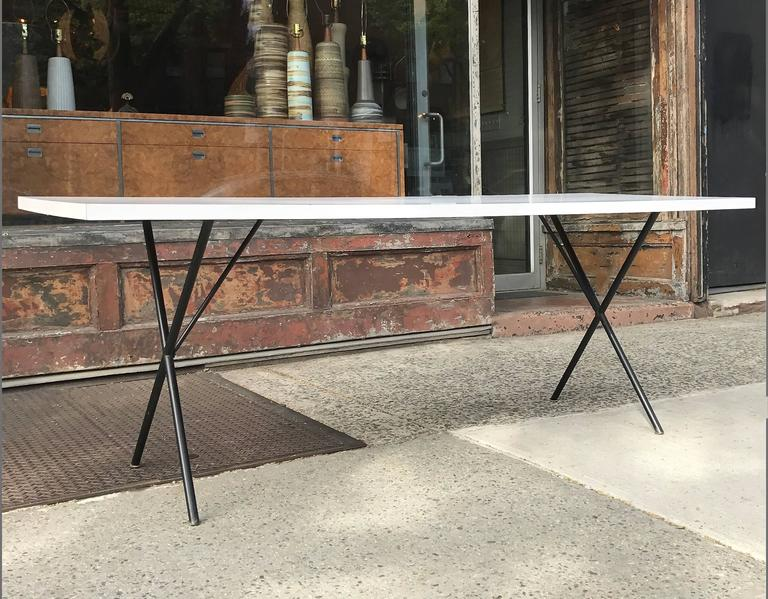 George Nelson for Herman Miller White Laminate X Legs Dining Table 4