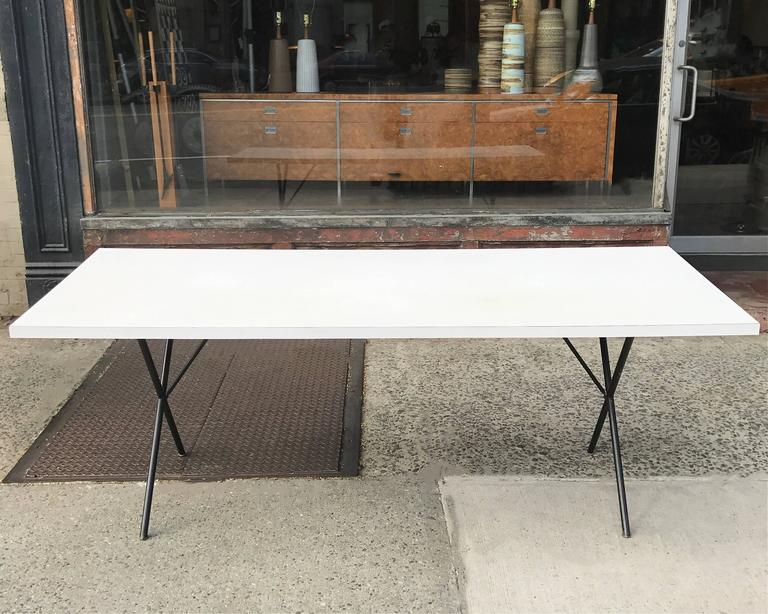 Mid-Century Modern George Nelson for Herman Miller White Laminate X Legs Dining Table For Sale