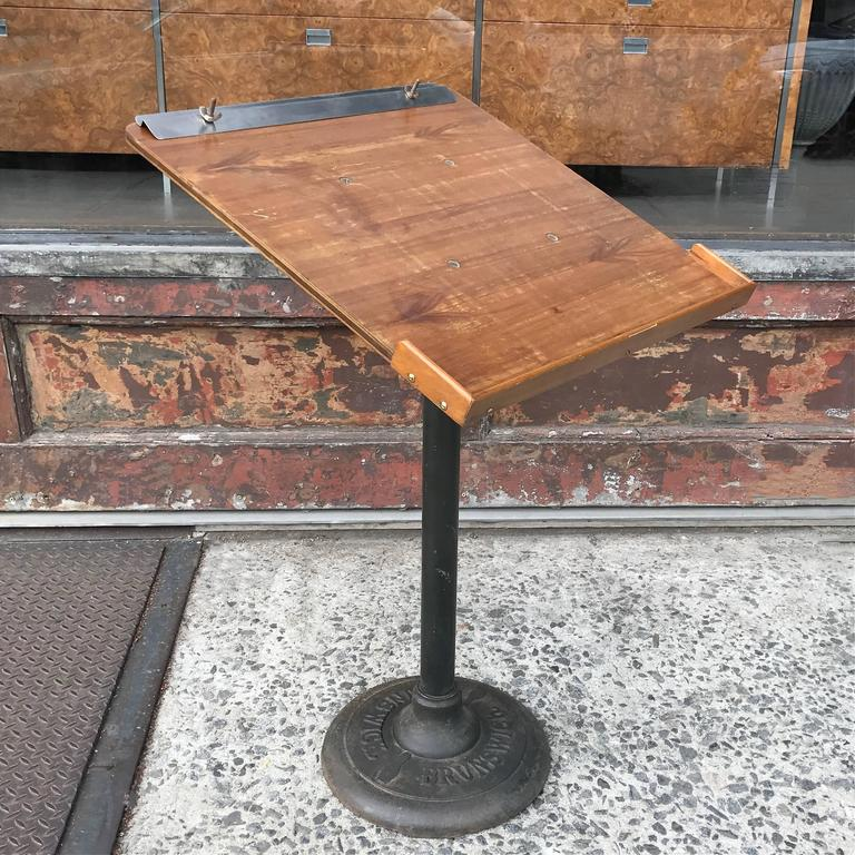 Industrial Cast Iron and Wood Bowling Score Stand by Brunswick 2