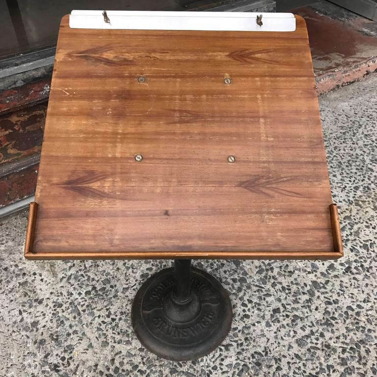 Industrial Cast Iron and Wood Bowling Score Stand by Brunswick In Good Condition For Sale In Brooklyn, NY