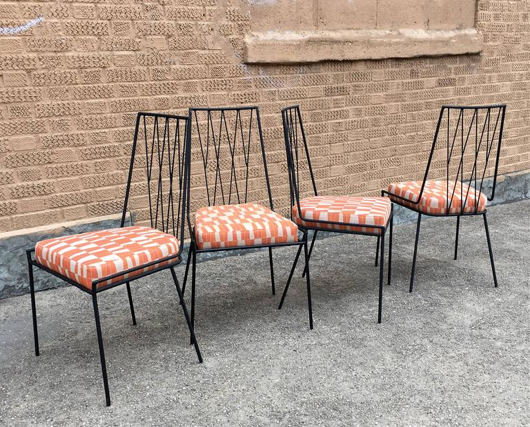 Set Of Four Rare Paul Mccobb Wrought Iron Patio Dining Chairs For