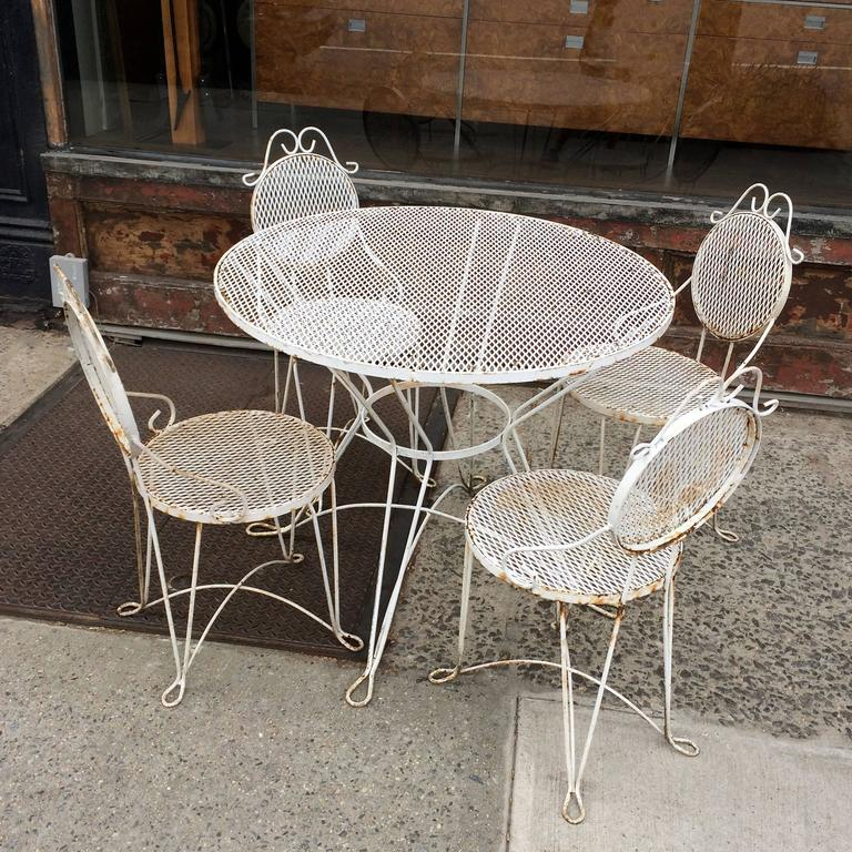 mid century wrought iron outdoor patio dining set for sale