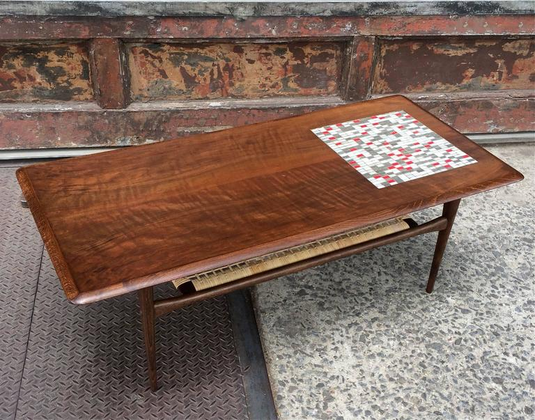 Danish Modern Walnut And Tile Mosaic Coffee Table At 1stdibs