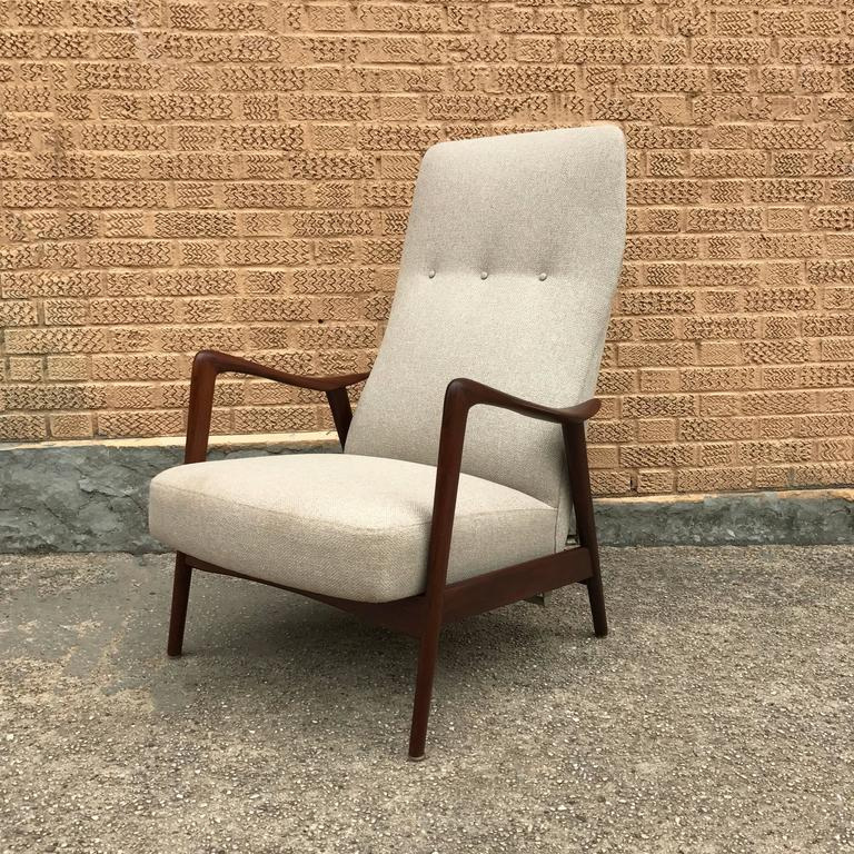 Scandinavian Lounge: Scandinavian Modern Walnut Recliner Lounge Chair, Westnofa
