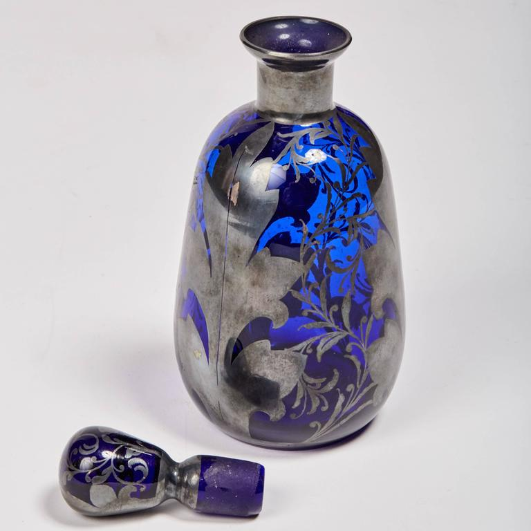 Art Nouveau Venetian Cobalt Glass Decanter with Hand-Painted Sterling Silver For Sale