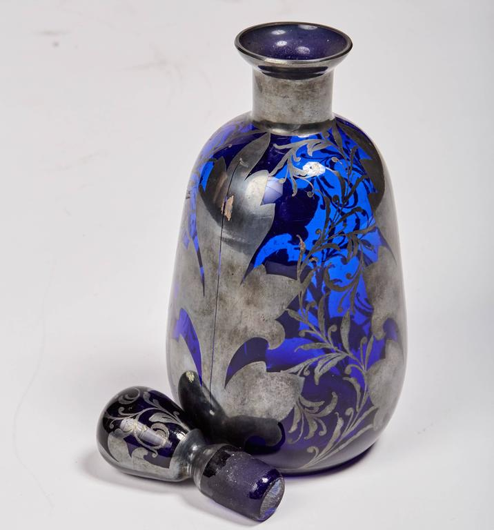 Italian Venetian Cobalt Glass Decanter with Hand-Painted Sterling Silver For Sale