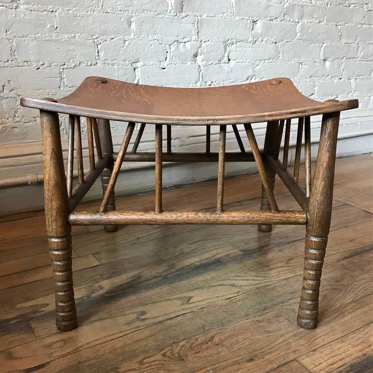 Carved Oak Arts & Crafts Egyptian Revival Thebes Stool In Excellent Condition For Sale In Brooklyn, NY