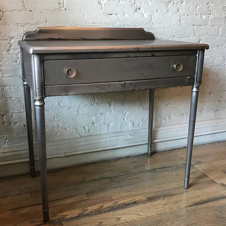 Brushed Steel Sheraton Series Vanity Writing Desk By Simmons Company