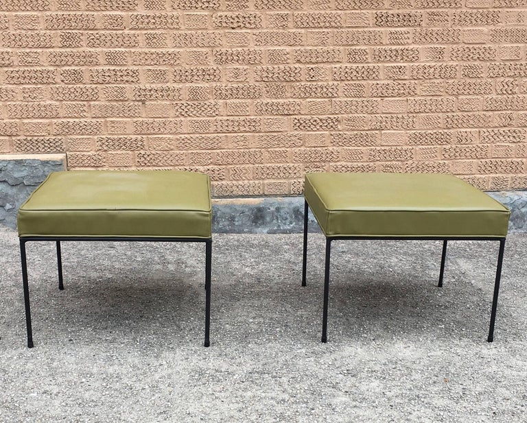 ec74472de8a4 Mid-Century Modern Paul McCobb Square Wrought Iron and Olive Green Vinyl  Ottomans For Sale