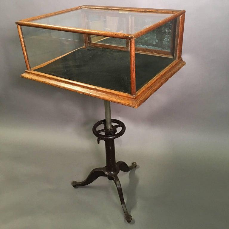 Antique Oak Shop Display Case With Cast Iron Pedestal Base