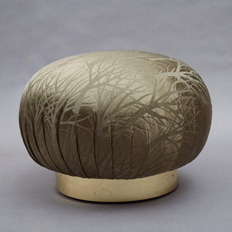 Brass Pair of Round Souffle Swivel Pouf Ottomans in the Manner of Karl Springer For Sale