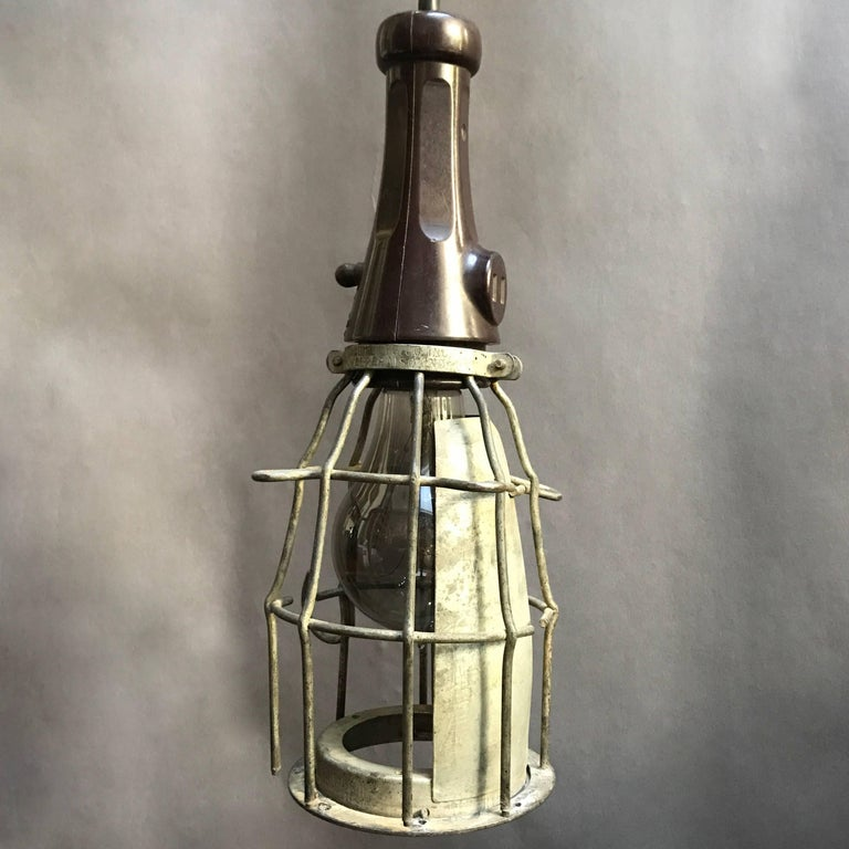 industrial rubber handle utility cage light pendant for