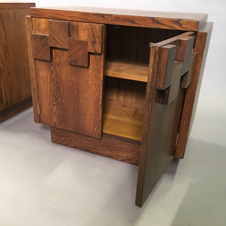 Brutalist Mosaic Oak End Table Nightstands by Lane Altavista In Good Condition For Sale In Brooklyn, NY