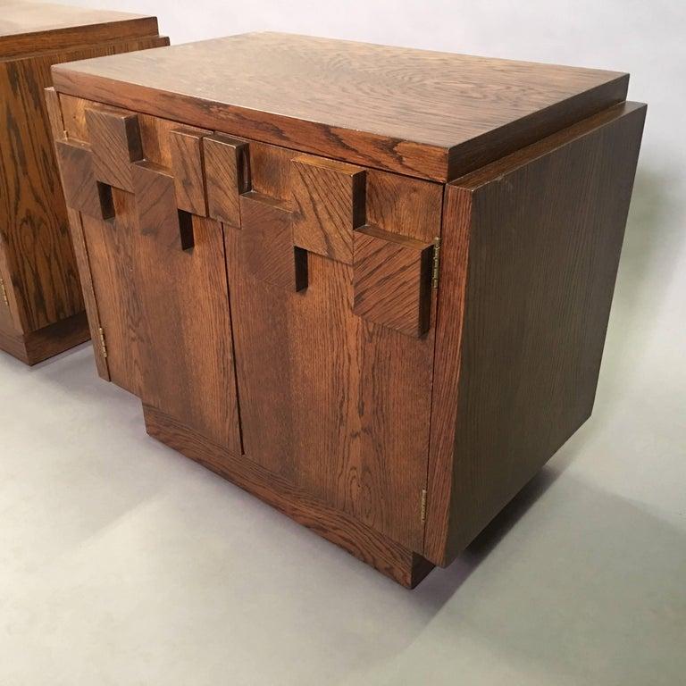Mid-Century Modern Brutalist Mosaic Oak End Table Nightstands by Lane Altavista For Sale