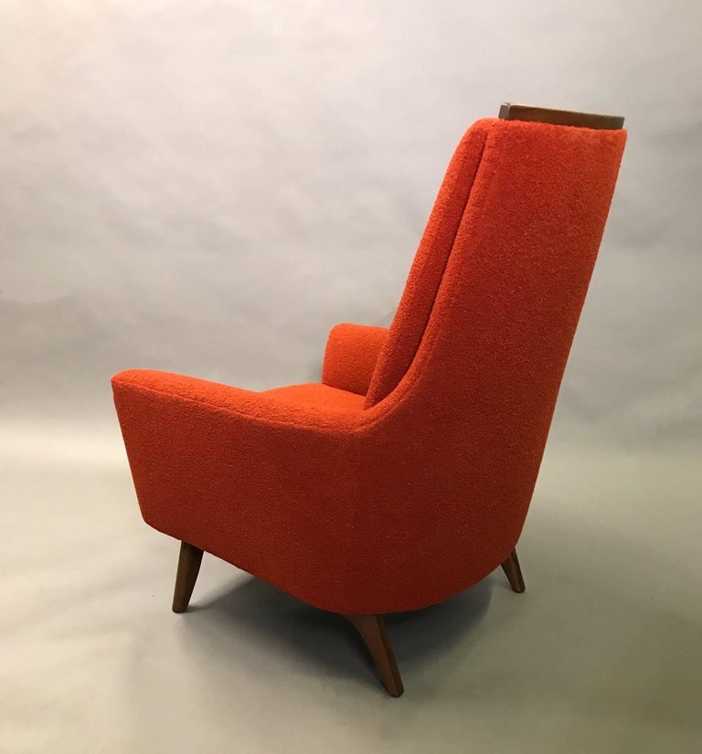 American High Back Upholstered Lounge Chair by Adrian Pearsall For Sale