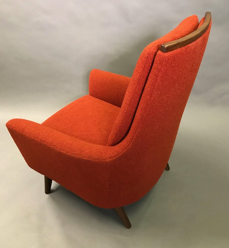 High Back Upholstered Lounge Chair by Adrian Pearsall In Excellent Condition For Sale In Brooklyn, NY