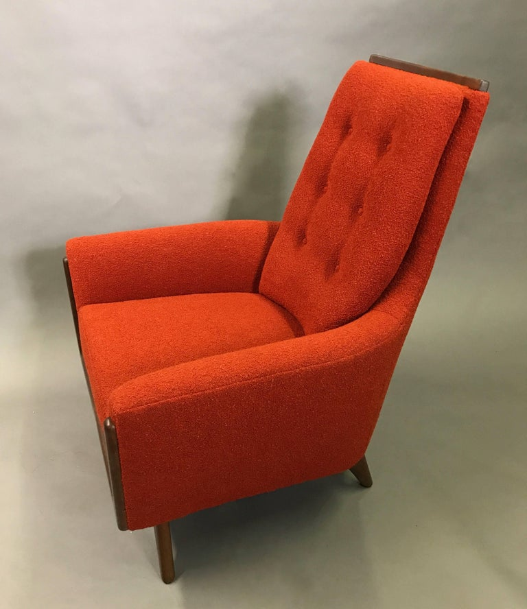 Mid-Century Modern High Back Upholstered Lounge Chair by Adrian Pearsall For Sale