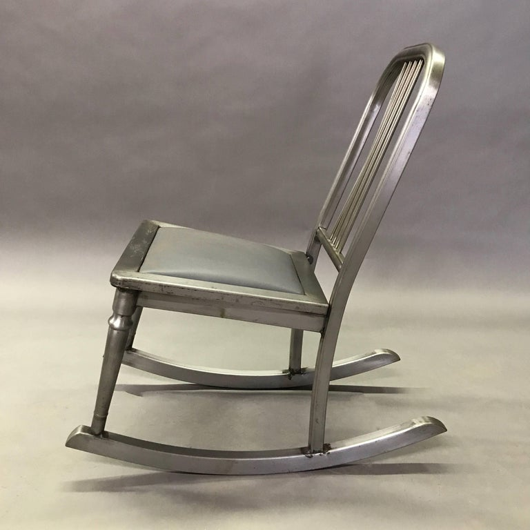 Industrial Petite Brushed Steel Rocking Chair by Simmons Sheraton Series For Sale
