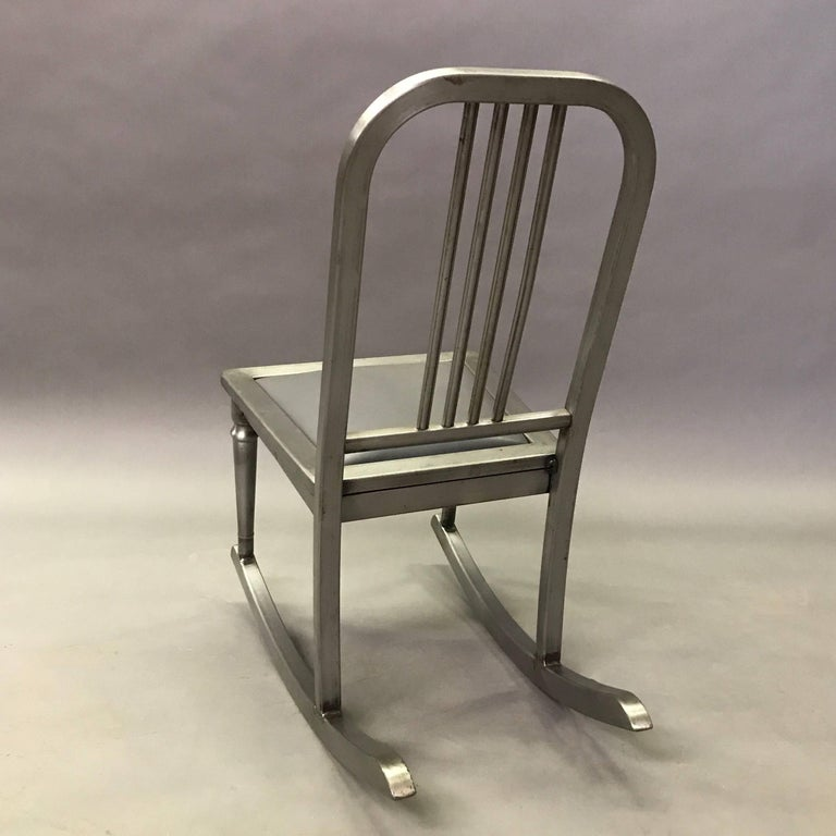 American Petite Brushed Steel Rocking Chair by Simmons Sheraton Series For Sale