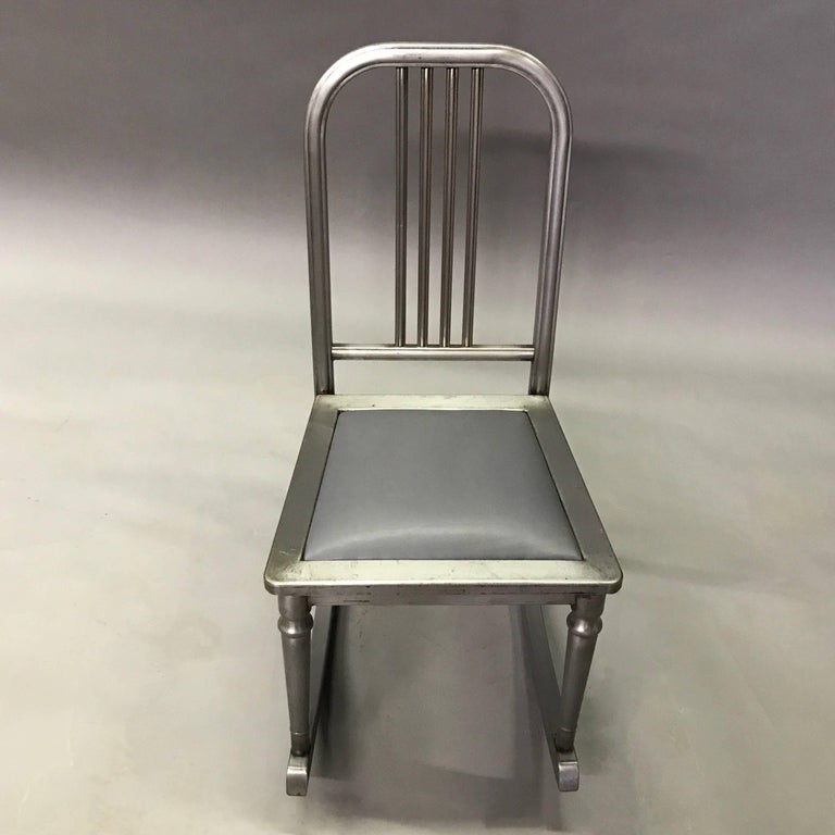 Early 20th Century Petite Brushed Steel Rocking Chair by Simmons Sheraton Series For Sale