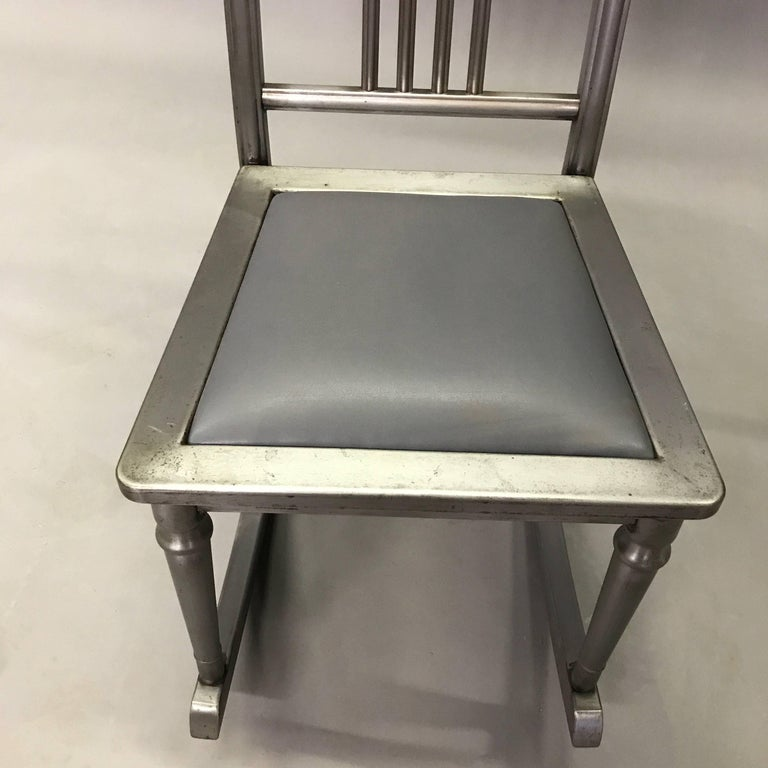 Petite Brushed Steel Rocking Chair by Simmons Sheraton Series For Sale 1